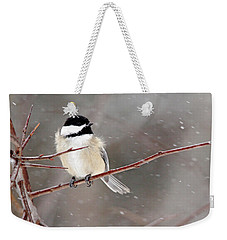 Windblown Chickadee Weekender Tote Bag