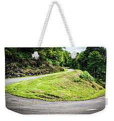Weekender Tote Bag featuring the photograph Winding Road With Sharp Bend Going Up The Mountain by Semmick Photo