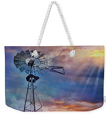 Weekender Tote Bag featuring the photograph Windmill At Sunset by Susan Candelario