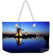 Windmills At Dusk In The Blue Hour Weekender Tote Bag