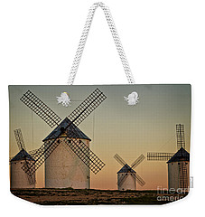 Weekender Tote Bag featuring the photograph Windmills In Golden Light by Heiko Koehrer-Wagner