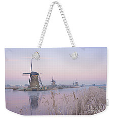 Windmills In The Netherlands In The Soft Sunrise Light In Winter Weekender Tote Bag