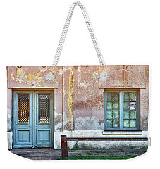 Weekender Tote Bag featuring the photograph Window And Door Of Old Train Station by Eduardo Jose Accorinti