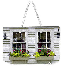 Weekender Tote Bag featuring the photograph Window Boxes And Flowers by Betty Denise