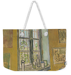 Weekender Tote Bag featuring the painting Window In The Studio Saint-remy-de-provence, September - October 1889 Vincent Van Gogh 1853 - 1890 by Artistic Panda