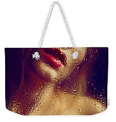 Window -  Sensual Woman Portrait Behind A Rainy Window Weekender Tote Bag