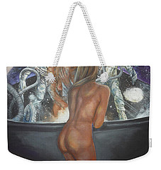 Window Washers On A Space Station Weekender Tote Bag by Bryan Bustard