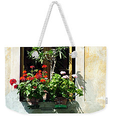 Weekender Tote Bag featuring the photograph Window With A Tree by Donna Corless