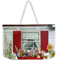 Windowbox With Cat Weekender Tote Bag by Bonnie Siracusa