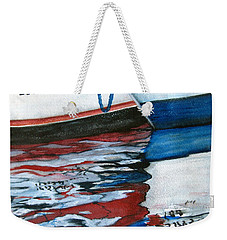 Weekender Tote Bag featuring the painting Windswept Reflections Sold by Lil Taylor