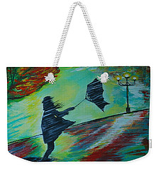 Weekender Tote Bag featuring the painting Windy Escapade by Leslie Allen
