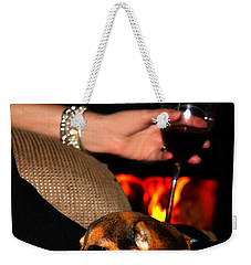 Wine And A Fire And A Dog Weekender Tote Bag