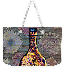 Weekender Tote Bag featuring the digital art Wine Bottle And Floral Wall by Iowan Stone-Flowers