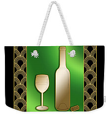 Weekender Tote Bag featuring the digital art Wine Bottle And Glass - Chuck Staley by Chuck Staley