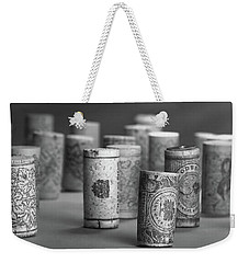 Weekender Tote Bag featuring the photograph Wine Cork Panorama In Black And White by Tom Mc Nemar