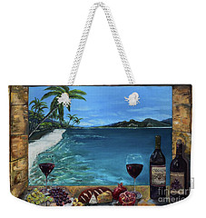 Weekender Tote Bag featuring the painting Wine Thirty - Oceanside by Jan Dappen