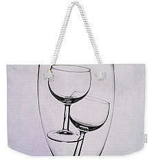 Weekender Tote Bag featuring the photograph Wineglass Trio by Tom Mc Nemar