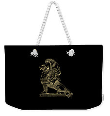 Weekender Tote Bag featuring the digital art Winged Chimera From Theater De Bellecour, Lyon, France, In Gold On Black by Serge Averbukh