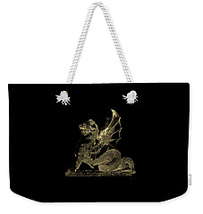 Weekender Tote Bag featuring the digital art Winged Dragon Chimera From Fontaine Saint-michel, Paris In Gold On Black by Serge Averbukh