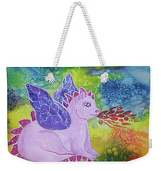 Weekender Tote Bag featuring the painting Winged Dragon by Ellen Levinson