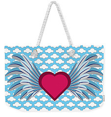 Winged Heart In A Cloudy Blue Sky Weekender Tote Bag by MM Anderson