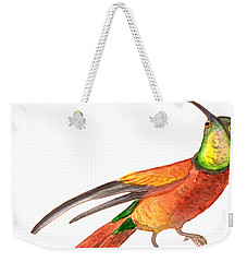 Weekender Tote Bag featuring the painting Winged Jewel 6, Watercolor Tropical Rainforest Hummingbird Red, Yellow, Orange And Green by Audrey Jeanne Roberts