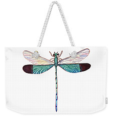 Weekender Tote Bag featuring the painting Winged Jewels 1, Watercolor Tropical Dragonfly Aqua Blue Black by Audrey Jeanne Roberts