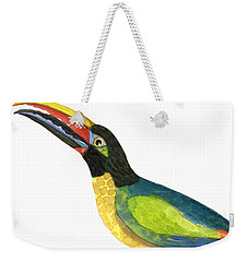 Weekender Tote Bag featuring the painting Winged Jewels 2, Watercolor Toucan Rainforest Birds by Audrey Jeanne Roberts