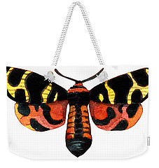 Weekender Tote Bag featuring the painting Winged Jewels 5, Watercolor Moth Black Yellow Orange And Red Tropical by Audrey Jeanne Roberts