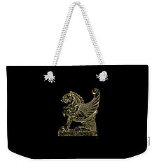 Weekender Tote Bag featuring the digital art Winged Lion Chimera From Casa San Isidora, Santiago, Chile, In Gold On Black by Serge Averbukh
