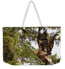Weekender Tote Bag featuring the photograph Winging-it Up The Tree 1 by Debbie Stahre