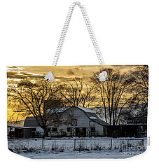 Weekender Tote Bag featuring the photograph Winter Barn At Sunset - Provo - Utah by Gary Whitton