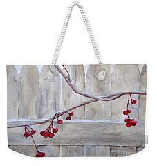 Winter Berries Watercolor Weekender Tote Bag