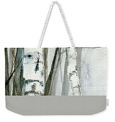 Weekender Tote Bag featuring the painting Winter Birch by Laurie Rohner