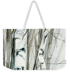 Winter Birch Weekender Tote Bag