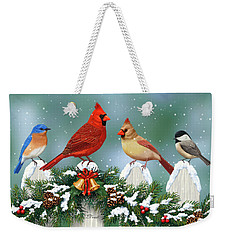 Winter Birds And Christmas Garland Weekender Tote Bag by Crista Forest