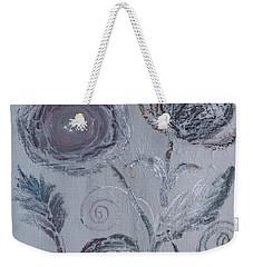 Weekender Tote Bag featuring the painting Winter Blooms by Robin Maria Pedrero