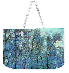 Winter Blue Forest Weekender Tote Bag