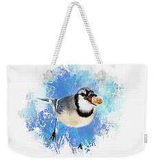 Weekender Tote Bag featuring the photograph Winter Bluejay by Darren Fisher