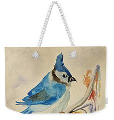 Winter Bluejay Weekender Tote Bag by Maria Urso