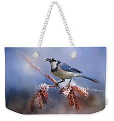 Winter Bluejay Weekender Tote Bag by TnBackroadsPhotos