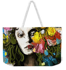 Weekender Tote Bag featuring the mixed media Winter Blues by Carrie Joy Byrnes