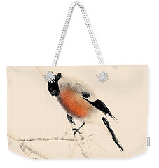 Weekender Tote Bag featuring the painting Winter Bullfinch by Chris Armytage