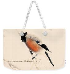 Winter Bullfinch Weekender Tote Bag