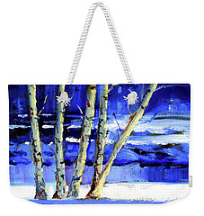 Weekender Tote Bag featuring the painting Winter By The River by Nancy Merkle