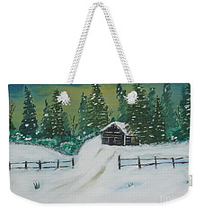 Winter Cabin Weekender Tote Bag