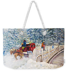 Winter Carriage In Central Park Weekender Tote Bag