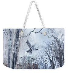Weekender Tote Bag featuring the painting Winter Caws by Robin Maria Pedrero