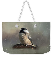 Winter Chicadee Weekender Tote Bag