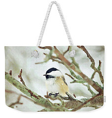 Winter Chickadee Weekender Tote Bag